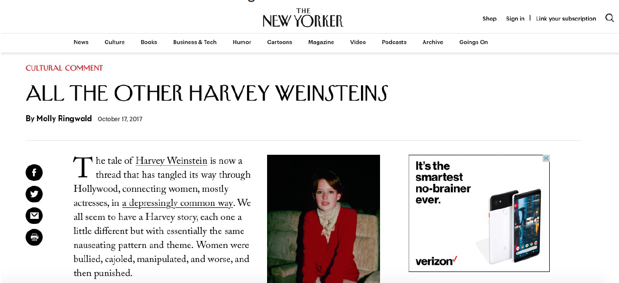 Molly Ringwald's editorial for The New Yorker about Harvey Weinstein and sexual harassment.