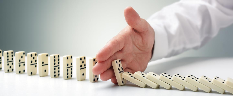 Domino effect representing alternative data in politics.