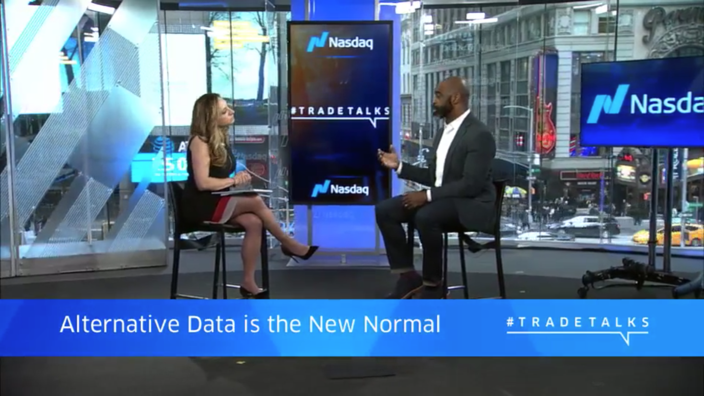 Dataminr's Ed Oliver speaking with Nasdaq's Jill Malandrino in March 2018