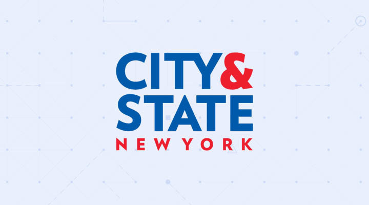 City and State New York logo on Dataminr background