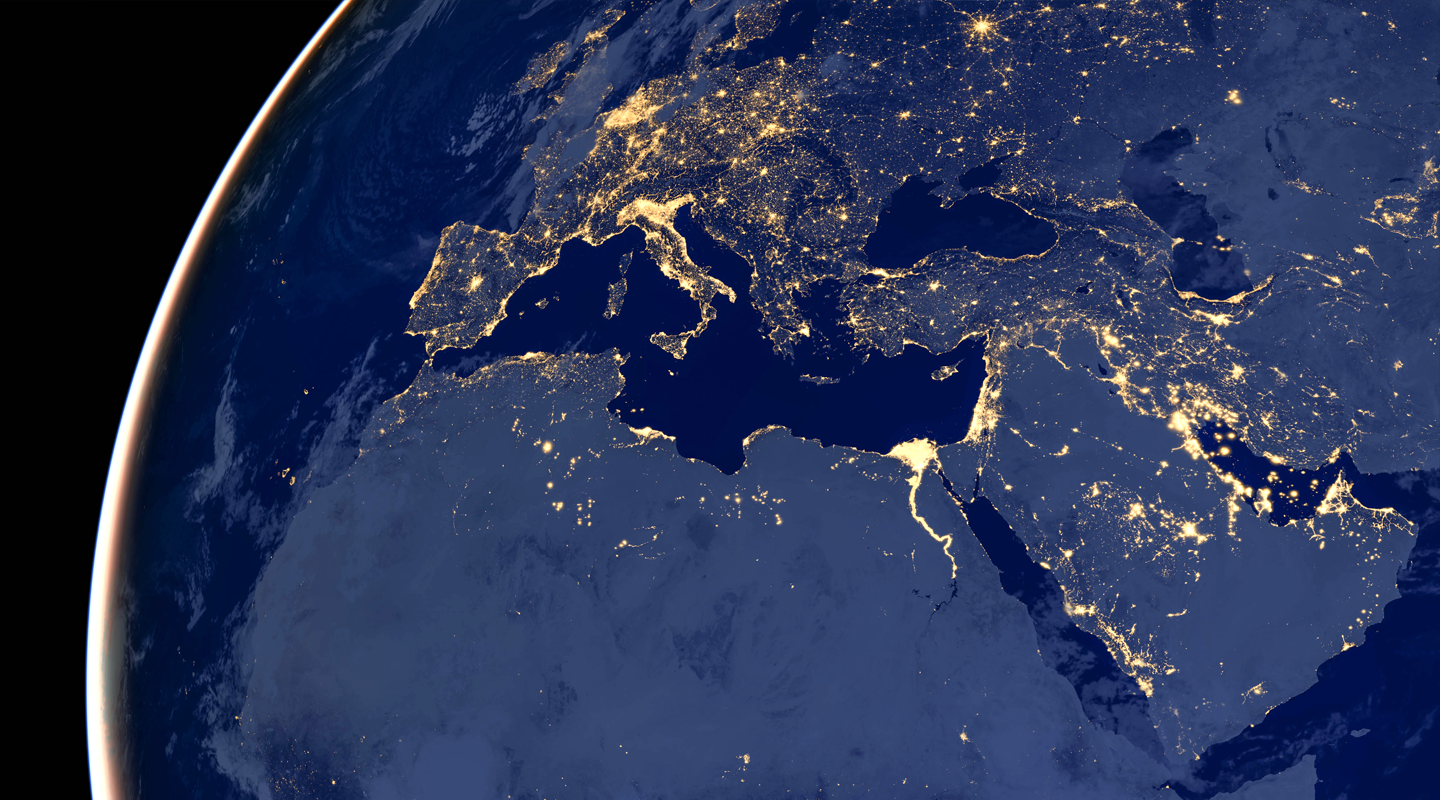 Middle East nighttime aerial image