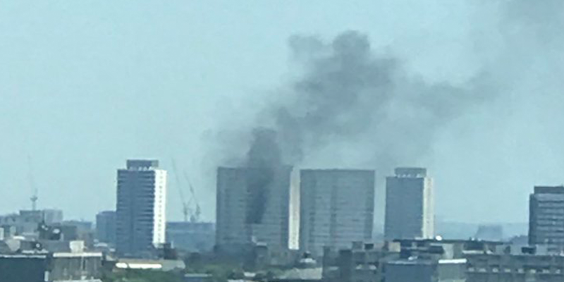Fire outside a residential building in East London.