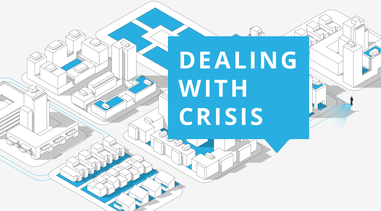 Corporate security infographic on dealing with crisis.