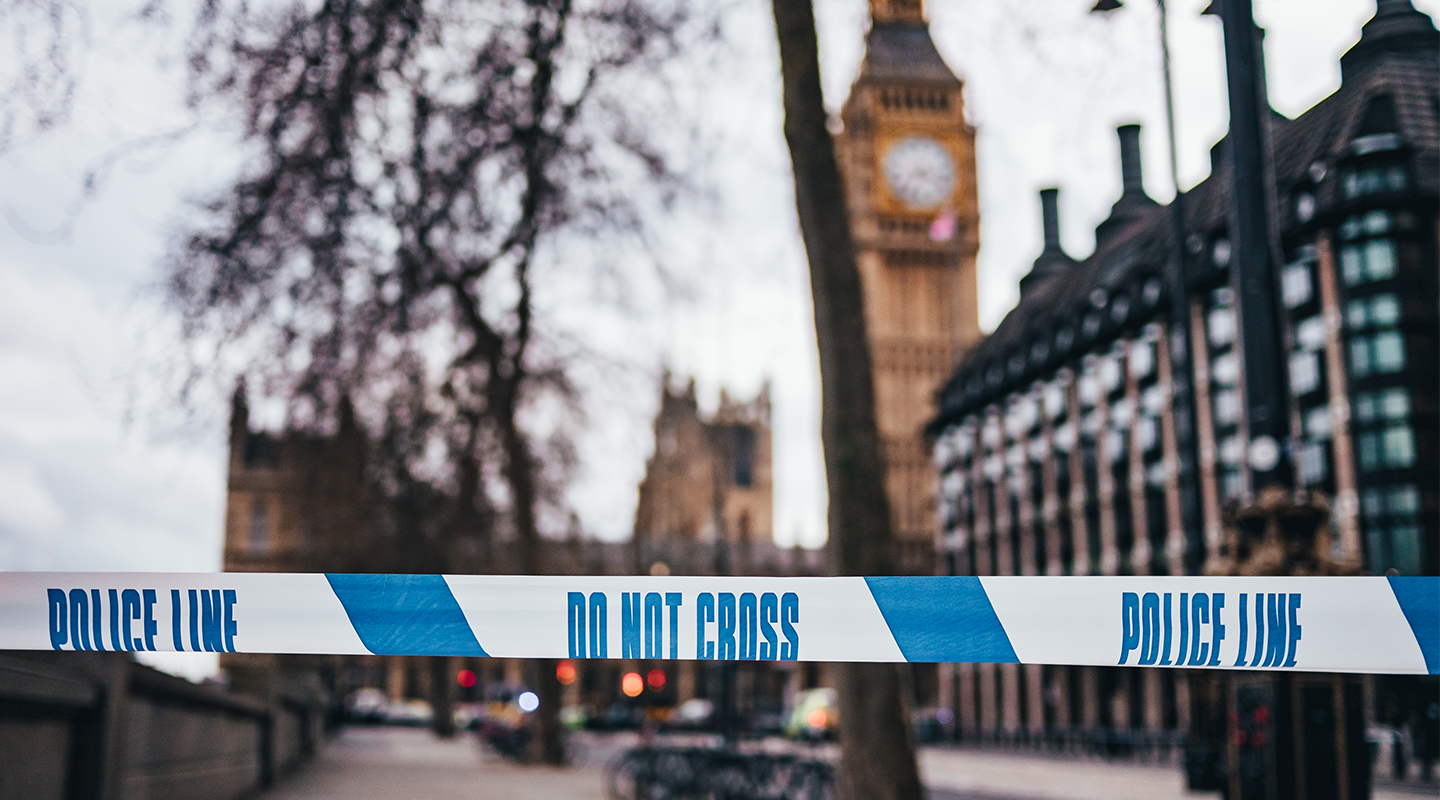 Security tape outside Big Ben tower in London.